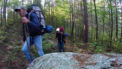 Backpacking - Hiking in Forest - stock footage