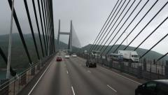 Ride through Kap Shui Mun, longest cable stayed bridge, impressive perspective Stock Footage