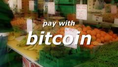 Bitcoin market pay with 2 Stock Footage