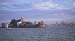 Alcatraz Island Dusk Establishing Shot  	 Stock Footage