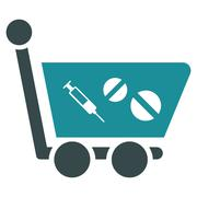 Medication Shopping Cart Icon - stock illustration