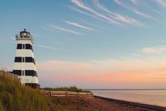 West Point Lighthouse at dusk Stock Photos