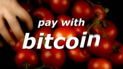 Bitcoin tomatoes pay with Stock Footage