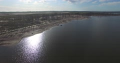 Aerial drone scene of lakes shore, Epecuen. Stock Footage