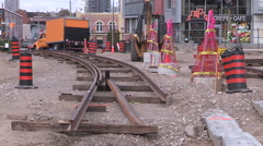 Massive road construction site in Kitchener for new rapid transit LRT line - stock footage