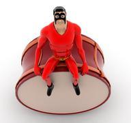 Superhero sitting on  drum concept Stock Illustration
