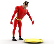 Uperhero found coin and taking it concept Stock Illustration