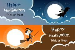 Flying Bat Vampire Halloween Banner Midnight Mood Sky Cloud Copy Space - stock illustration