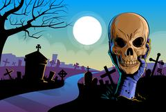 Zombie Hand Hold Dead Skull Head Undead Arm From Ground Graveyard - stock illustration