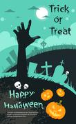 Halloween Banner Cemetery Graveyard Hand From Ground Party Invitation Card - stock illustration