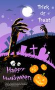 Stock Illustration of Halloween Banner Cemetery Graveyard Hand From Ground Party Invitation Card