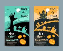 Halloween House Pumpkin Face Party Invitation Card Stock Illustration