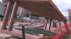 Massive road construction site in Kitchener for new rapid transit LRT line Stock Footage