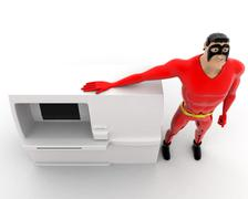 Superhero standing with ATM machine concept Stock Illustration