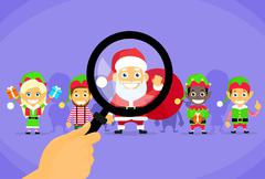 Santa Clause Christmas Elf Magnifying Glass Concept Cartoon Character - stock illustration