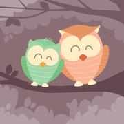 Stock Illustration of Two Owl Sitting on Branch Flat Vector