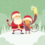 Santa Clause Christmas Monkey Cartoon Character Taking Selfie Photo On Smart Stock Illustration