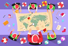 Santa Clause Christmas Elf Cartoon Character Sitting Desk World Map - stock illustration