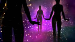 Three silhouette girls dancing. Camera moves up. - stock footage