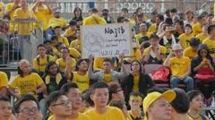 Demonstrator showing anti prime minister text,Kuala Lumpur,Malaysia Stock Footage