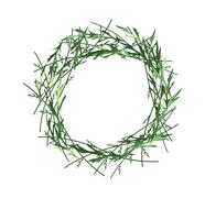 Beautiful Green Leaves Wreath on White Background - stock illustration