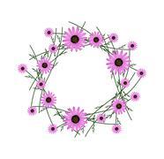 Stock Illustration of Beautiful Pink Daisy Wreath on White Background
