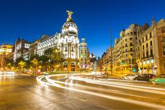 Gran Via Madrid Stock Photos