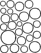 Hand-drawn liquid line circle shapes over white Stock Illustration