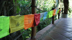 Prayer Flags Waving in Wind 4K Stock Video Footage Stock Footage