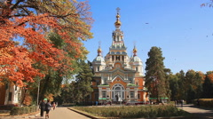 Ascension Cathedral Autumn Almaty Stock Footage