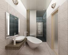 rendering 3D of a modern bathroom interior design - stock illustration