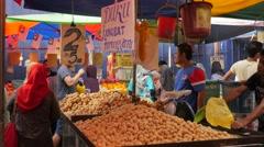 Langsat tropical fruit seller,Kuala Lumpur,Malaysia Stock Footage