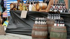 Mead and beers at outdoor food market. Strong drinks Stock Footage