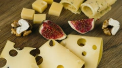 A set of different cheeses Stock Footage