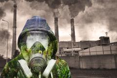 Concept of nature against industrial pollution Stock Photos