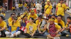 Demonstrators sit on street,Kuala Lumpur,Malaysia Stock Footage