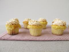 Gluten free cupcakes with cream cheese topping - stock photo