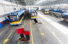 Trolley depot Stock Photos