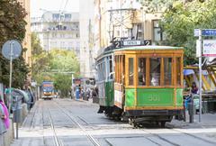 Authentic tram in Europe - stock photo