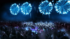 Crowd of people and fireworks explosions (pan camera blue) Stock Footage