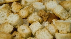 Cracker from white bread Stock Footage