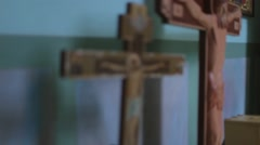 jesus christ a cross in Christian church.mp4 - stock footage