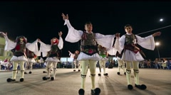 Greek Traditional Folk Dance in traditional costumes and fashion - stock footage
