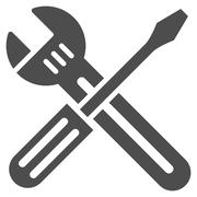 Spanner And Screwdriver Icon - stock illustration