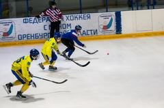 Game in Mini hockey with the ball - stock photo
