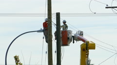 City Hydro Linemen Talking On The Job Stock Footage