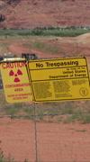 Moab Utah UMTRA warning sign contamination uranium vertical HD Stock Footage
