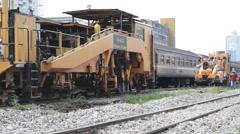 Stock Video Footage of Restoration the railroad tracks