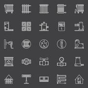 Heating linear icons Stock Illustration