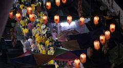 Demonstrators in petaling street with lampions,Kuala Lumpur,Malaysia Stock Footage